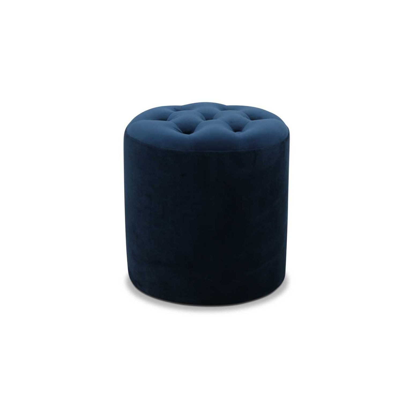 HAGA Pisa puf - blå fløjl stof, rund (Ø 35)