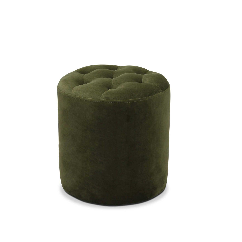 HAGA Pisa puf - grøn fløjl stof, rund (Ø 35)