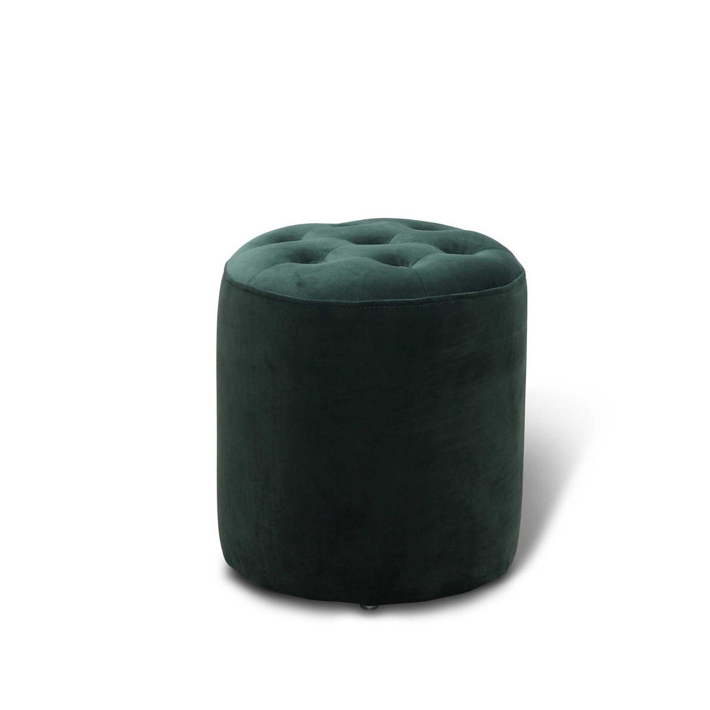 HAGA Pisa puf - mørkegrøn fløjl stof, rund (Ø 35)