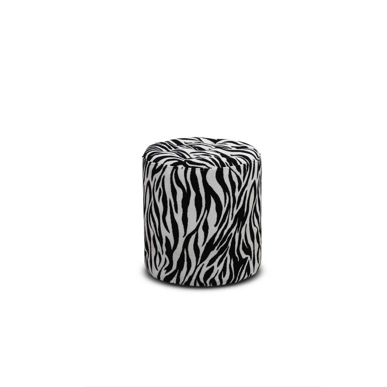haga gruppen Haga pisa puf - zebra mønstret fløjl stof, rund (ø 35) på boboonline.dk