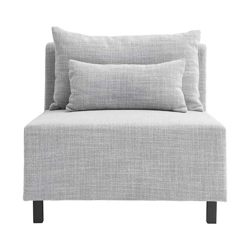 HOUSE DOCTOR sofa modul - lysegrå stof m. sorte ben, midterdel (85x85)