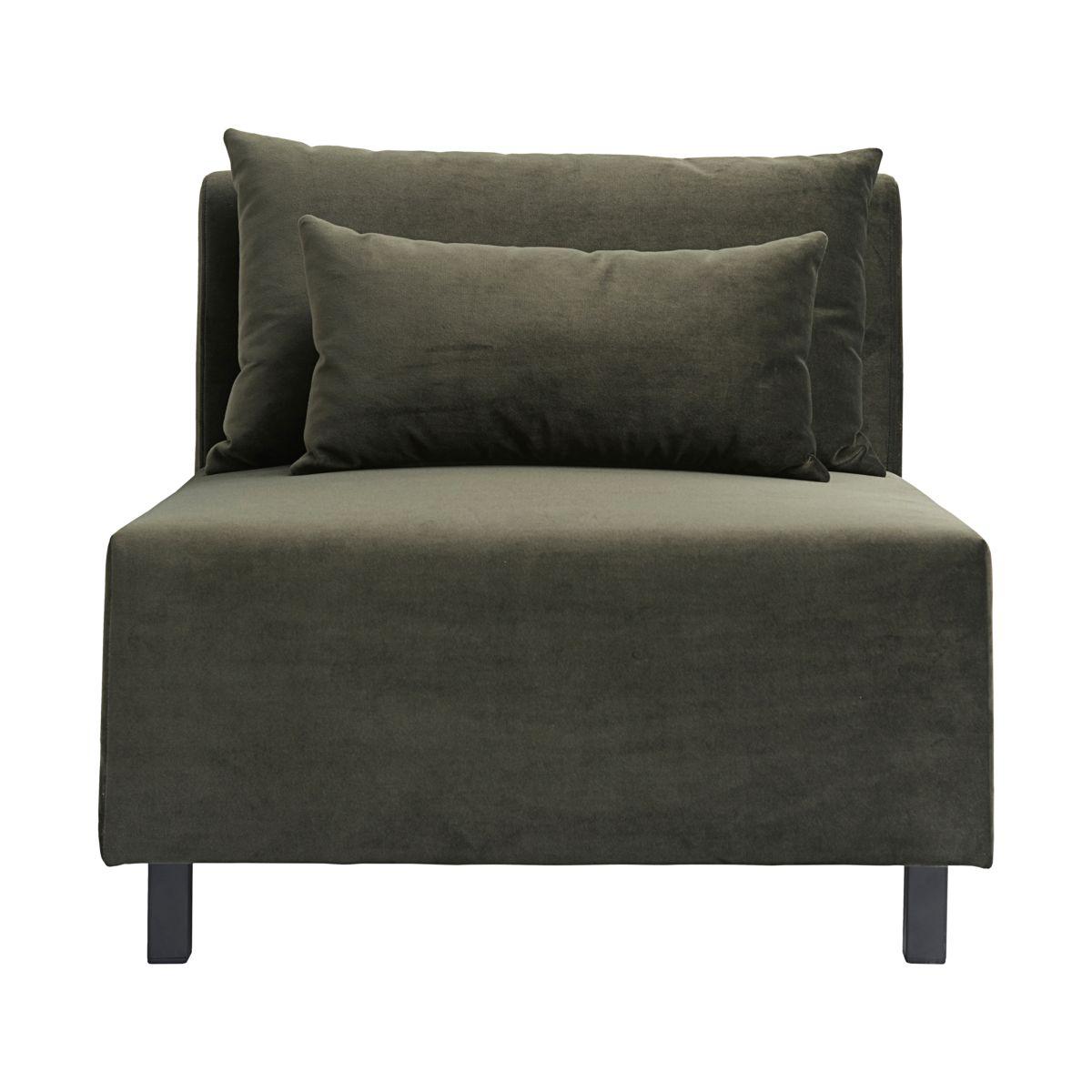 house doctor – House doctor sofa modul - mørkegrønt stof m. sorte ben, midterdel (85x85) fra boboonline.dk
