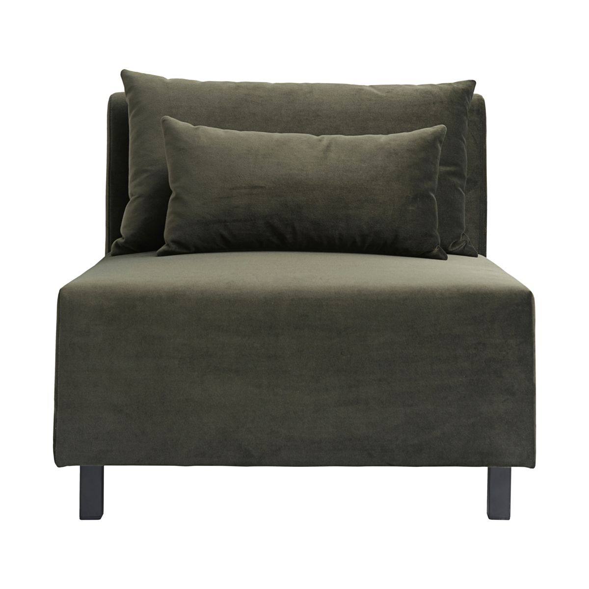 HOUSE DOCTOR sofa modul - mørkegrønt stof m. sorte ben, midterdel (85x85)