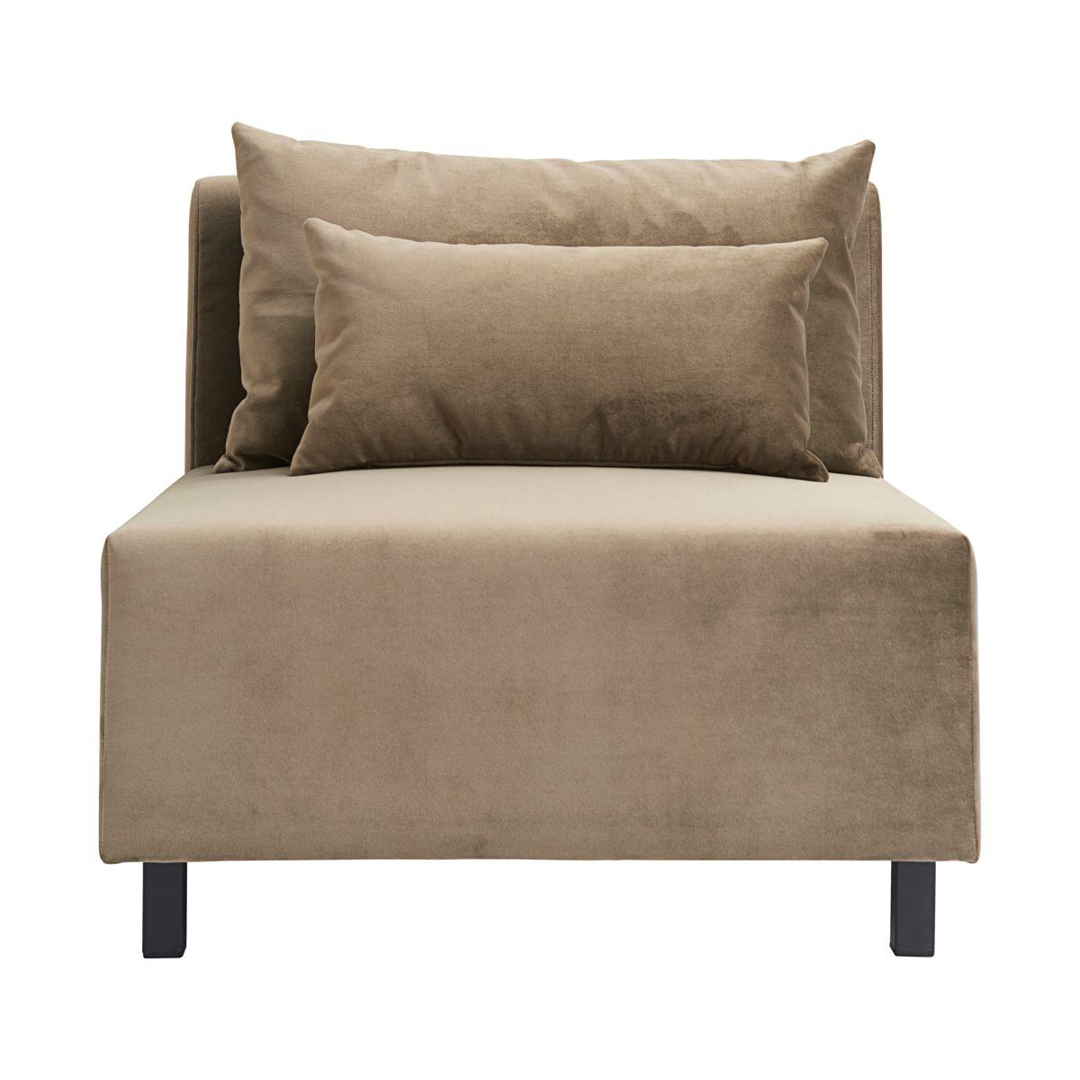 HOUSE DOCTOR sofa modul - sandfarvet stof/velour m. sorte ben, midterdel (85x85)