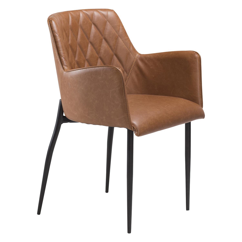 DAN-FORM Rombo lænestol - vintage lysebrun kunstlæder og sort stål