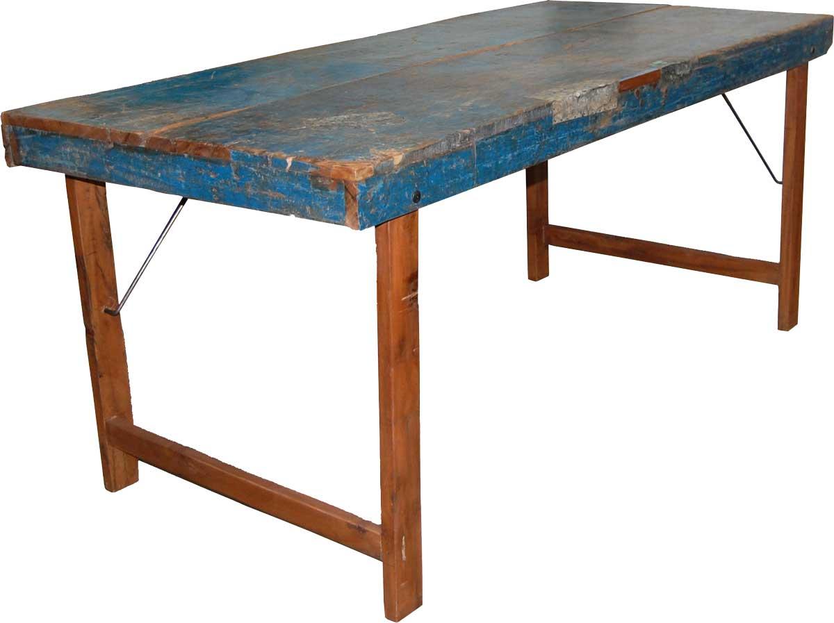 Trademark Living Spisebord - Natur Træ Og Træ M. Original Blå Finish (150-160X75)
