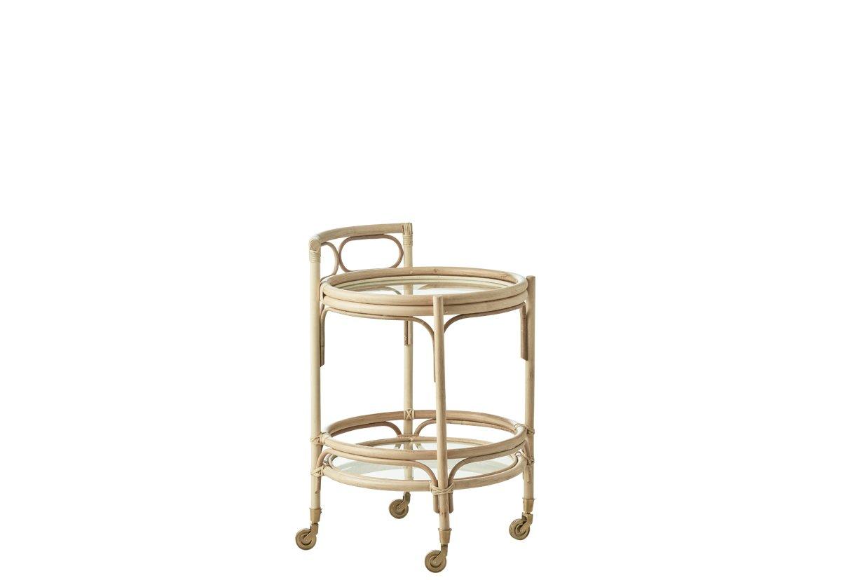 SIKA DESIGN Romeo rullebord - natur rattan, m. hjul, rund (Ø49)