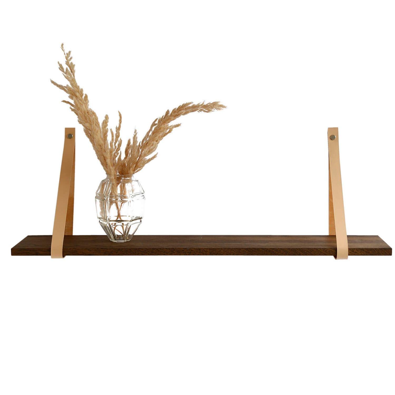 Design by BOBO Harrevig væghylde - røget egetræ m. natur læderstrop, 50-100 100x20 cm thumbnail
