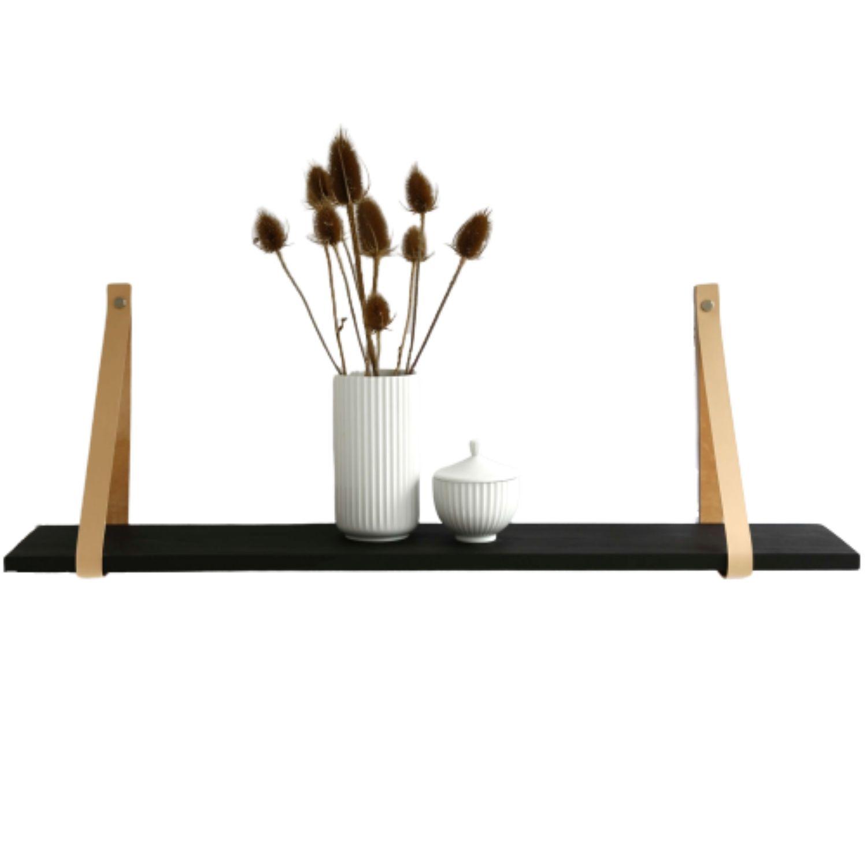 Design by BOBO Harrevig væghylde - sort olieret egetræ m. natur lædestrop, 50-100 75x20 cm thumbnail