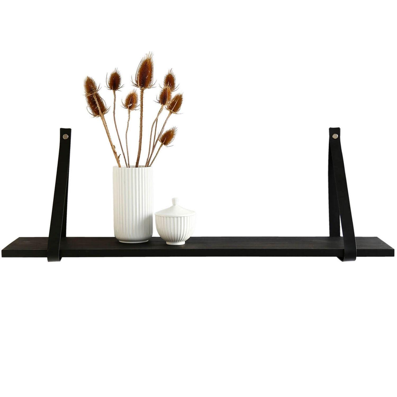 Design by BOBO Harrevig væghylde - sort olieret egetræ m. sort læderstrop, 50-100 50x20 cm thumbnail