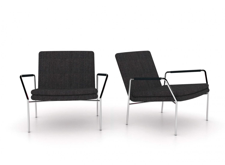 Jensenplus hoyo loungestol - antracitgrå stof/cognac læder og krom, m. armlæn antracit grå sort