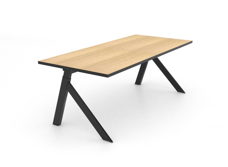 JENSENPLUS K2 skrivebord - træplade og sort stel, m. hæve/sænke funktion (140x60)