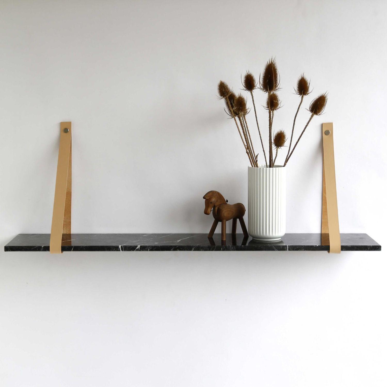 Design by BOBO Harrevig væghylde - sort neo marmor m. natur læderstrop, 50-100 100x20 cm thumbnail