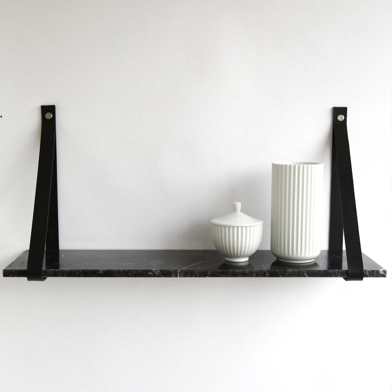 Design by BOBO Harrevig væghylde - sort neo marmor m. sort læderstrop, 50-100 75x20 cm thumbnail