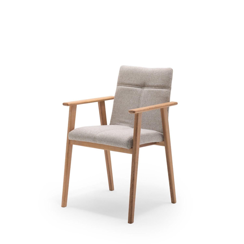 NocNoi Venø spisebordsstol med armlæn, stof og massivt egetræ